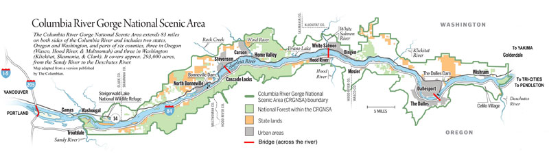 Map of the Columbia River Gorge