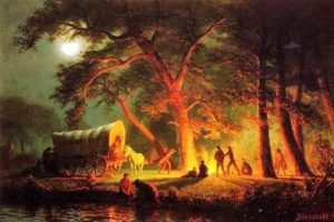 Albert Bierstadt painting of Oregon Trail camp 1863