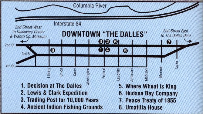 Map of The Dalles Murals